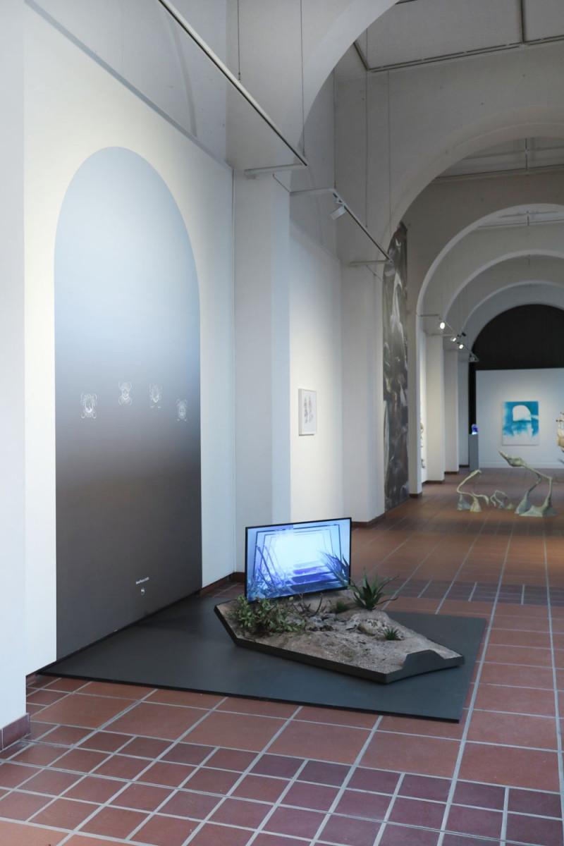 Ein Bildschirm steht auf einem niedrigen, auf dem Boden stehenden Kasten, der mit Sand und Pflanzen gefüllt ist, im Ausstellungsraum.