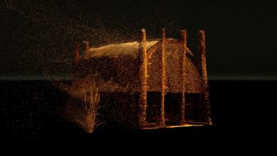 Vor einem schwarzen Hintergrund eine goldene Architektur aus kleinen Partikeln