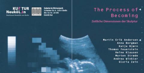 Einladungskarte zum Ausstellung - blauer Grund mit Text drüber