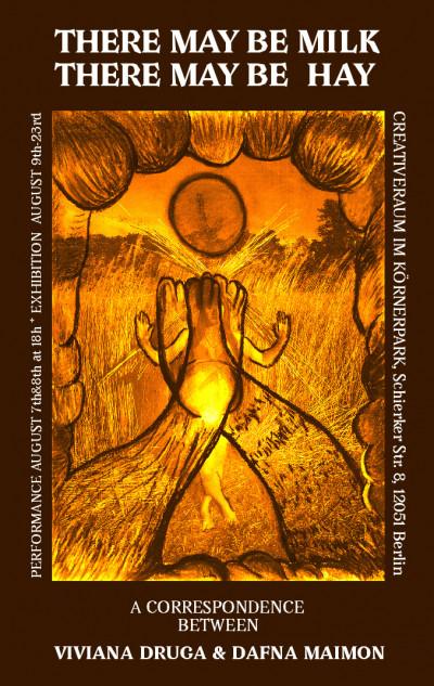 Braunes Plakat zur Ausstellung mit Text oben und unten und in der Mitte ein gemaltes Bild einer Landschaft mit viel Heu.